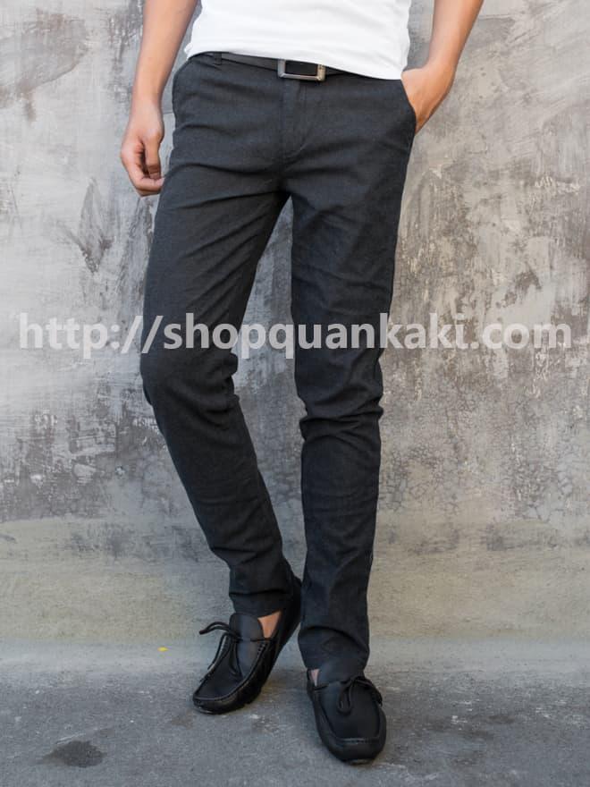 Quần kaki nam ống côn cao cấp màu đen