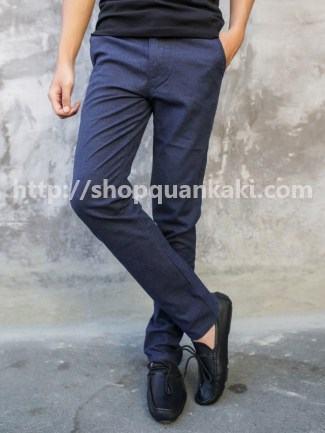 Quần kaki nam ống côn cao cấp màu xanh đen