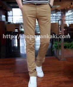 quần kaki nam ống côn màu bò