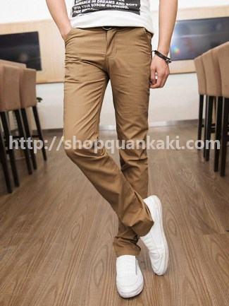quần kaki nam ống côn màu cà phê