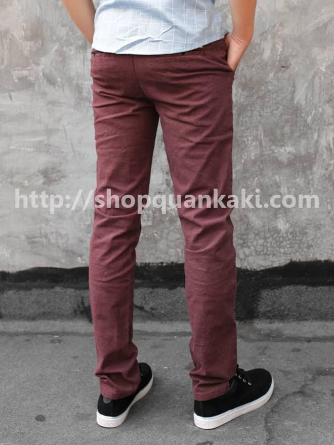 quần kaki nam ống côn màu đỏ đô
