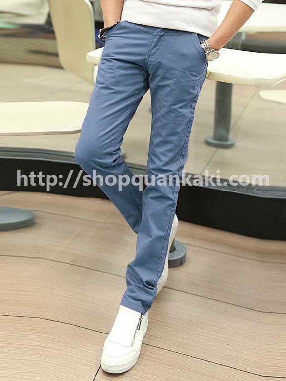 quần kaki nam ống côn màu môn