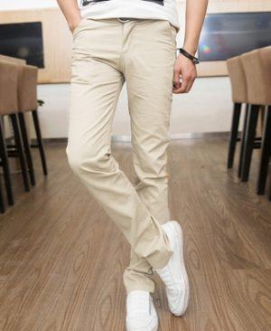 Quần kaki nam ống côn màu trắng kem