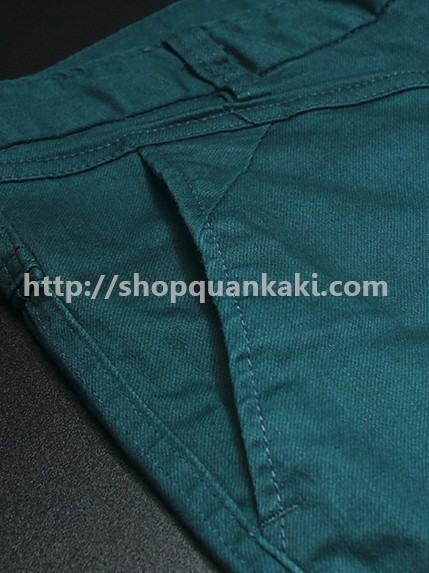 Chất vải quần kaki nam ống côn màu xanh cổ vịt nhạt
