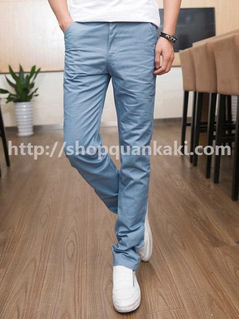 quần kaki nam ống côn màu xanh biển đậm
