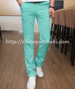 Quần kaki nam ống côn màu xanh ngọc
