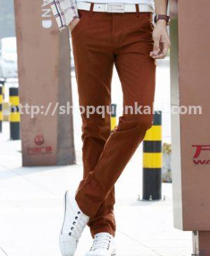 quần kaki nam ống côn màu đỏ cam