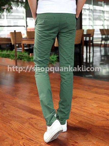 quần kaki nam ống côn màu xanh rêu
