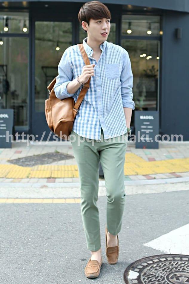 Style mặc quần kaki ống côn