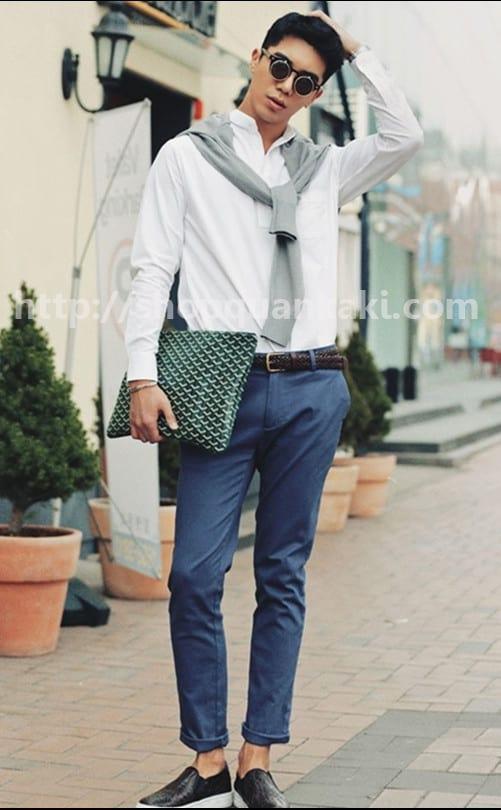Style mặc quần kaki ống đứng
