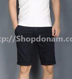 Quần short kaki nam màu đen Mango