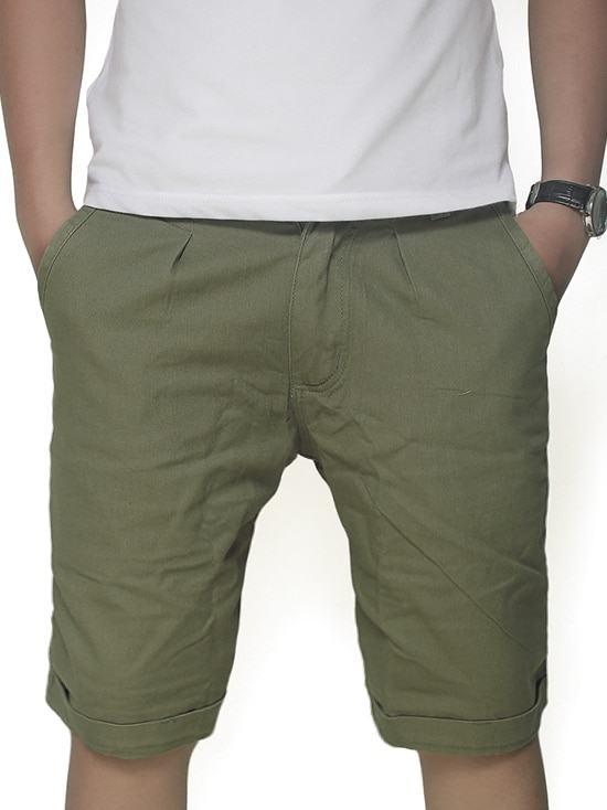 Quần short kaki nam màu xanh rêu-1