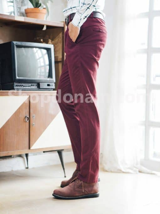 Quần kaki nam Hàn Quốc màu đỏ đô QK149-3
