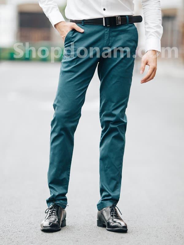 Quần kaki nam màu xanh cổ vịt QK161